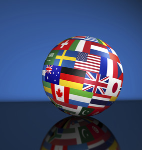 Flags of the world on a globe for international business, school, travel services and global management concept 3d illustration on blue background.
