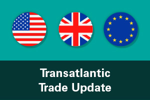 Transatlantic Trade Update text overlaid on top of images of US, UK and EU flags